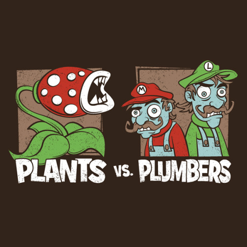 Who will triumph in the ultimate battle between Piranha Plants and Zombie Plumbers!!? This awesome mashup by Matthew Parsons (with a tiny bit help from me) is now available as a t-shirt or hoodie from RedBubble!