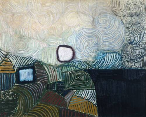 Victor Pasmore Spiral Motif in Green, Violet, Blue and Gold: The Coast of the Inland Sea (1950) Oil on canvas