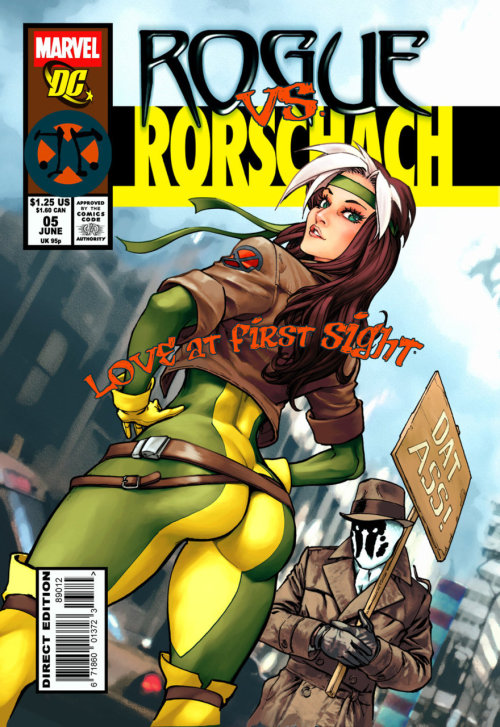 Well that's just wrong…  Rorschach never used the sign while he was Rorschach, only when he was Kovacs. What's more he is generally disgusted by any and all sexual expression.  Also this would not be an appropriate cover.