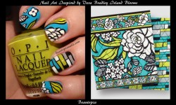 another nail art inspired by Vera Bradley, Island Blooms this time