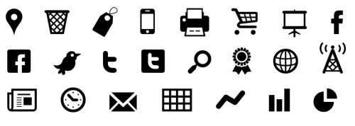 brianlucid:  Modern Pictograms is a typeface made for interface designers and programmers. Designed to work on-screen at sizes down to 18 pixels. Install the OpenType file for Photoshop mockups and drop in the @font-face code into your CSS to use right in your Web page. We're offering it free, but donations accepted.  The font is licensed with Open Font License. In short, you can't resell it as is, but you can incorporate it into your work and make a profit on that.