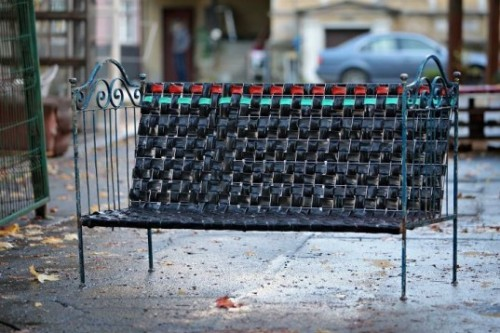 (via Reused Bicycle Inner Tubes Woven into Cool Recycled Bedframe Bench)