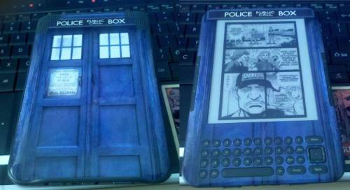 caelias:   Step 1: Get a Kindle Step 2: Acquire Dr Who skin Step 3: Sit and be proud of things.  this would be the reason why i got a kindle.. to bad that that kind of kindle is hard to get