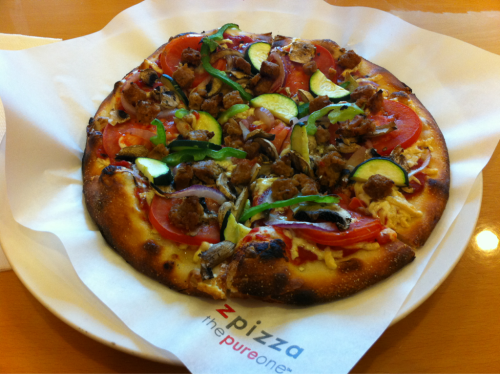 "reblogged from stuffveganseat:  ""Berkeley Vegan"" pizza from zpizza in Mountain View. :D  Those veggies."