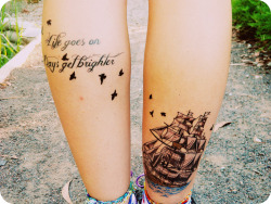 fuckyeahtattoos:  calves finally finished <3   that. ship. oh god. *pines*