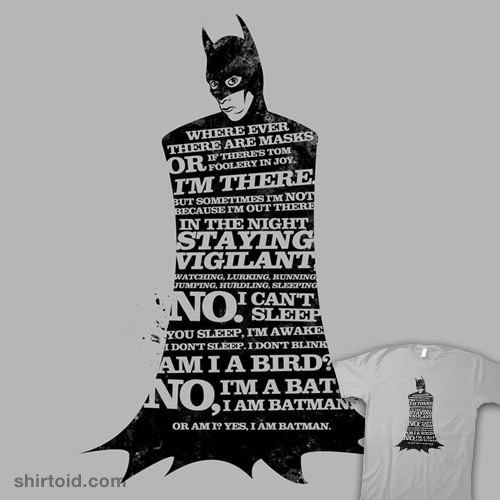 shirtoid:  Abed is Batman Now available at RedBubble  I love Abed!Batman and you should too. He's like normal Batman, but with less angst and crime fighting and more making parties awesome.