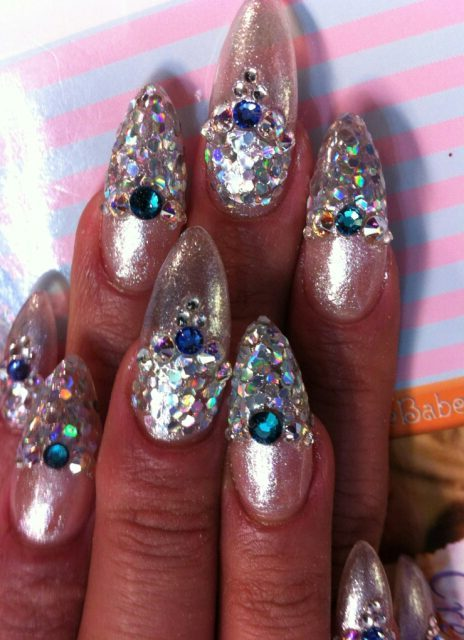 holographic ice nails polish art diamonds