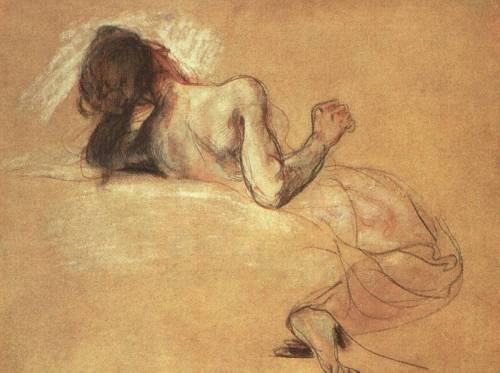 "drawingdetail:  Eugene Delacroix, Study for the ""Death of Sardanapalus"", 1827-28.; Pastel with chalk over wash on paper. Art Institute of Chicago."