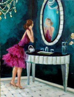 Mmmm…I'd love to have a lush dressing room with this painting on a Tiffany blue wall.