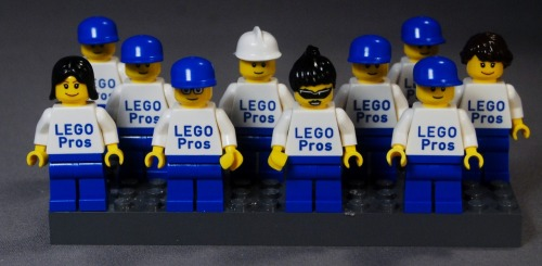 "Engraved Mini-Figs for the FLL Team ""LEGO Pros""! Congrats on a great competition season!"