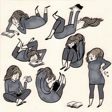 beatonna:  austinkleon:  Reading positions by Kate Beaton (who's on Tumblr!)  I sure am!  Fantastic web comic, Kate Beaton, illustrating the aches and pains of a TWAMP.