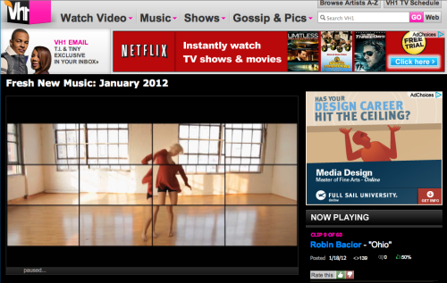 The video I choreographed is on VH1.  Click the image to watch the video at VH1.com