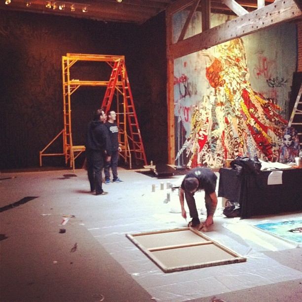 UK artist HUSH putting the final details on his show at 941 Geary Gallery.  #hush #streetart #artist #art #graffiti #Warholian #941geary (Taken with Instagram at 941 Gallery)