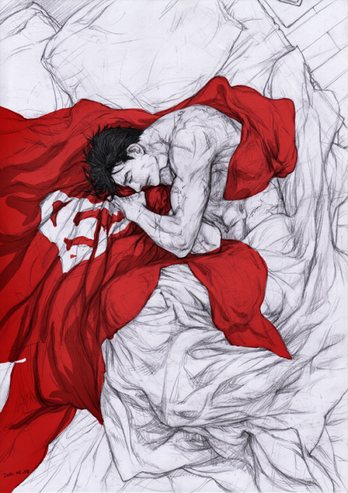kingdomkeyblade:  Bruce sleeping with Clark's cape. You're welcome, SuperBat fans.
