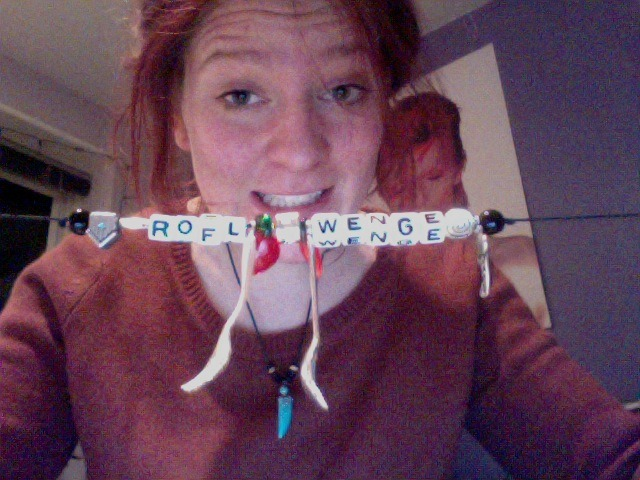 This is my rofl wenge necklace that my bezzie from work and her sister got me for my birthday, just so you all know. It has a fork and a spoon on it and also a wendy house and a chilli and a strawberry or something and a sword. That is pretty much all that has happened since I last came on Tumblr. Yours sincerely, Wenge.