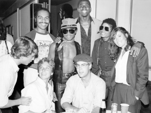 awesomepeoplehangingouttogether:  Magic Johnson, Marlon Jackson, Michael Jackson, Tatum O'Neal, Dan Aykroyd and Margot Kidder, 1979