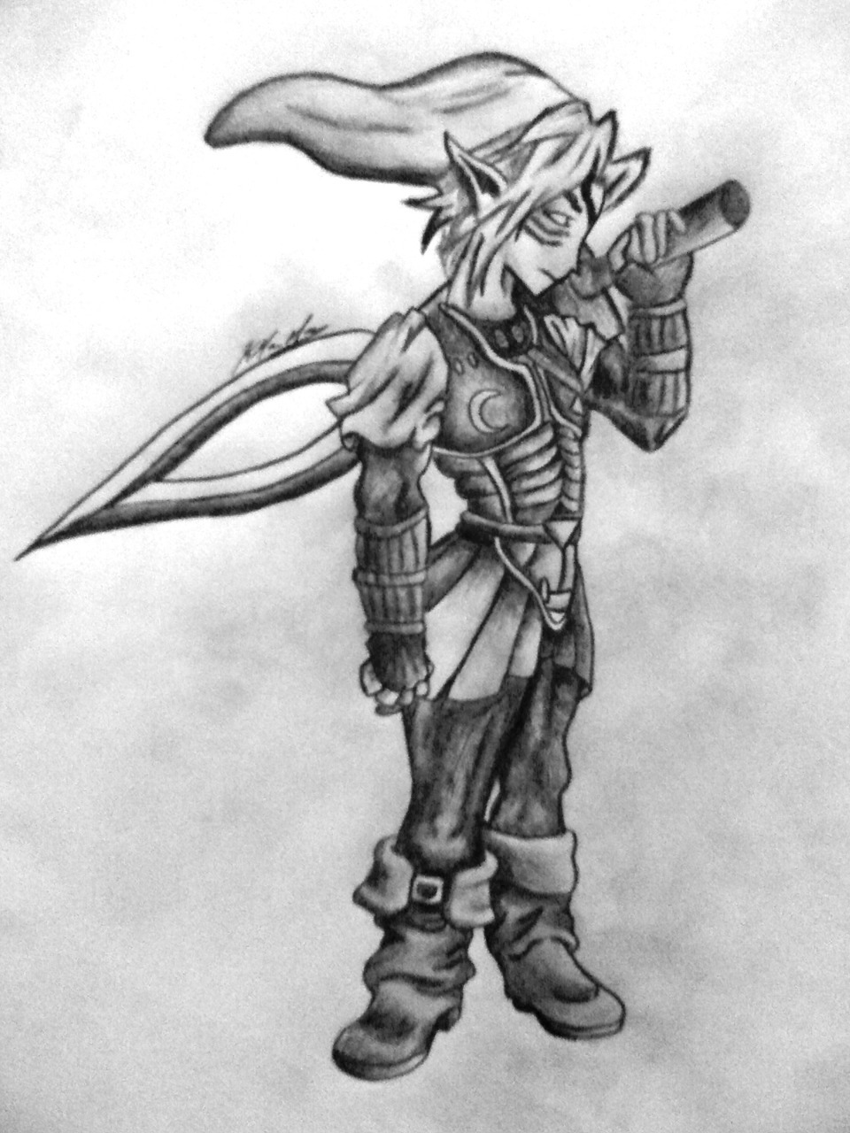 Fierce Deity Link, done in pencil.