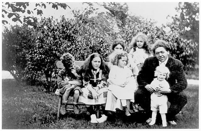 The Wyeth family in Chadds Ford: Nathaniel, Henriette, Ann, Mrs. N.C. Wyeth, Carolyn and N.C. Wyeth, holding young Andrew, circa 1919. Daily Local & Brandywine River Museum