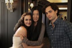v-o-g-u-e:  Leighton Meester, Vera Wang and  Penn Badgley