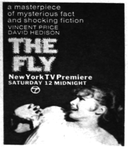 TV Guide ad for The Fly (1958) on WABC CH. 7 in New York.