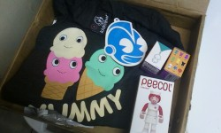 My Kidrobot order came today!!: Limited Heidi Kenney tri-blend tshirt, two Munny zipper pulls, and they threw in a free Peecol! All the happiness.