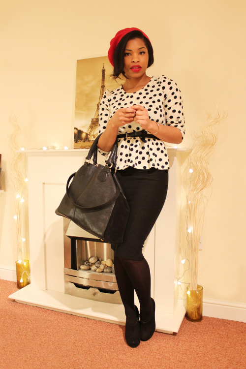 urbanfashionistastyle:  Beret : Primark Top : Clothes Show Skirt : Topshop Tights : Primark Boots : New Look Bag : Zara  Black Girls Killing It Shop BGKI NOW