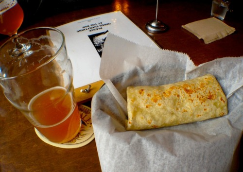 40 taps of California Craft beer & Vegan alternatives to the meats in the regular meals! Burbank is only a slide away…. To-eat-on-the-next-visit:  French fries with two dipping sauces; Spicy peanut sauce & Raspberry Chipotle BBQ  quarrygirl:  the weekend is almost here which means two days of BRUNCH coming up at tony's darts away from 10am-afternoonish. this only happens on saturday and sunday, so get with it. my favorite thing thus far is the breakfast burrito: quinoa & tofu all scrambled up, onions and salsa in a giant tortilla. it normally comes with daiya and bell peppers—-but i opt out of both. is that a beer at 10am? it sure is!