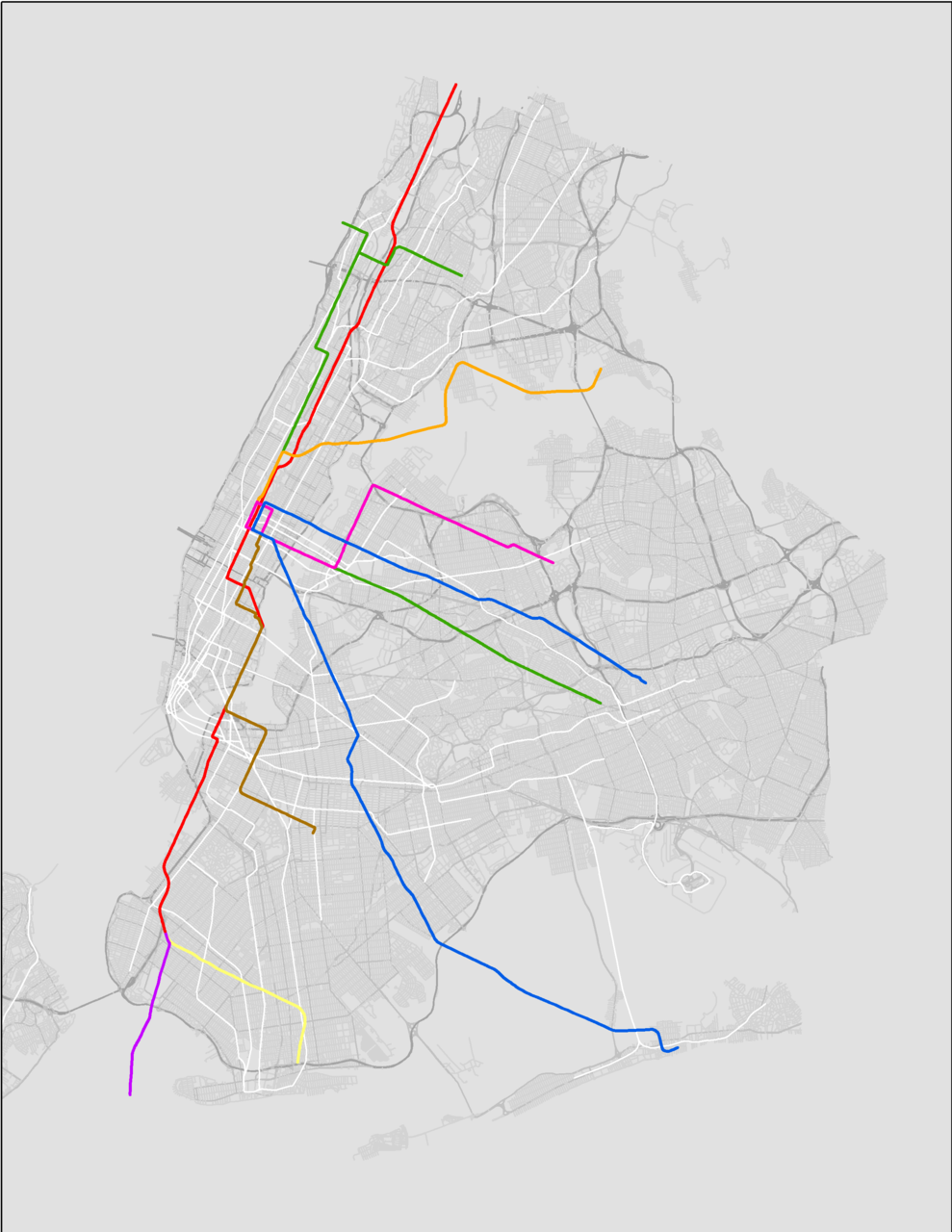 transitmaps:  Fantasy Map: Chicago El Overlaid On New York City A bit of whimsy for you today from Reddit, brought to my attention by Twitter user @GordonWerner. The El has been flipped both horizontally and vertically, then rotated to fit Manhattan's street grid, but the scaling is totally accurate. It looks like The Loop is placed in the area directly below Central Park. A few things from this: it's actually kind of scary how well this fits; and it's astounding just how dense the New York subway's lines really are (shown here in white). (Source: Reddit)