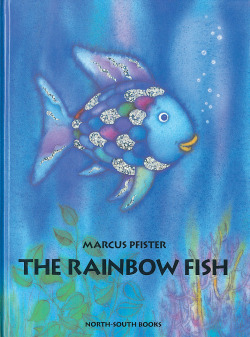 "Rainbow fish is an asshat in this story. He only shares his scales cause the octopus intimidates him, not because of some moral epiphany. I f-ing hate his guts. (I might be in an angry mood right now). boundforbeantown:  Books My Children Will Read: The Rainbow Fish  ""Finally the Rainbow Fish had only one shining scale left. His most  prized possessions had been given away, yet he was very happy. ""Come on Rainbow Fish,"" they called. ""Come and play with us!"" ""Here I come,"" said the Rainbow Fish and happy as a splash, he swam off to join his friends."""