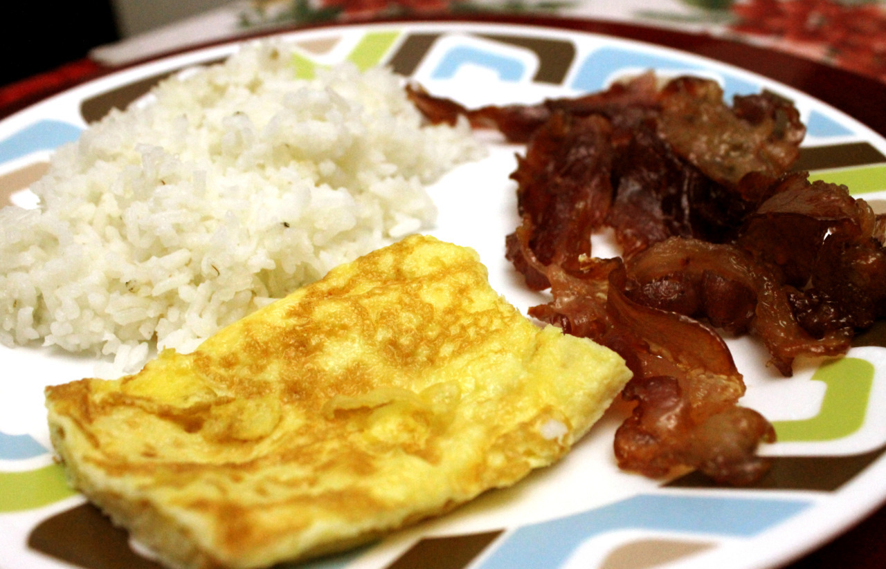 My yummy breakfast this morning.. RICE+ EGG+ CARAMELIZED BACON