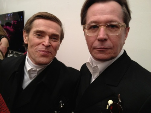 kerryannmccombs:  Willem Dafoe and Gary Oldman backstage, Prada, Fall 2012 Collection