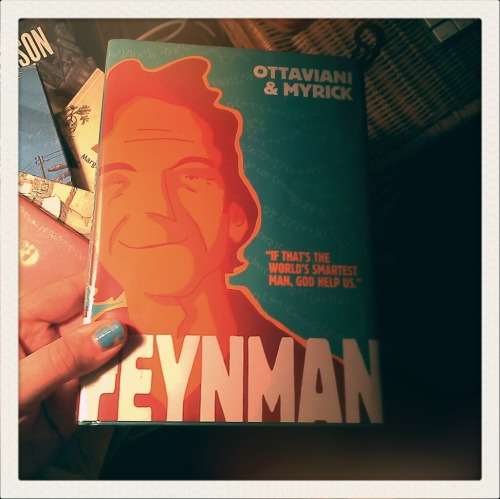"Finally got around to reading ""Feynman"" tonight. So good, really was a great read. Complete fan of Leland Myrick's illustrations."