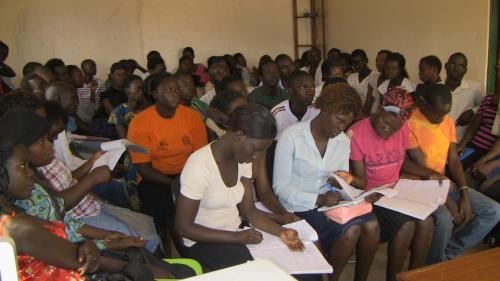 Eager students in Gulu, Uganda at the U-TOUCH Center intake and orientation.