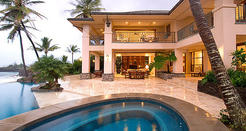 h00d—r1ch:  house, luxury, mansion, palm trees, pool - inspiring picture on Favim.com on We Heart It. http://weheartit.com/entry/21391134