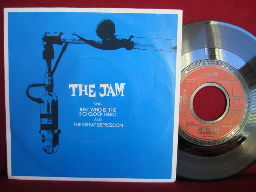 "#123: THE JAM - ""just who is the 5 o'clock hero"" ""just who is the 5 o'clock hero"" is another great THE JAM-song that originally was released on the album ""the gift"". the 7"" was released in 1982 and on the b-side there's a song called ""the great depression"", which is okay as well. not more to say actually, because i don't know where i bought this record. but it belonged to a carol j. once. at least her name is written on the sleeve and on the record. more about the single itself on wikipedia."