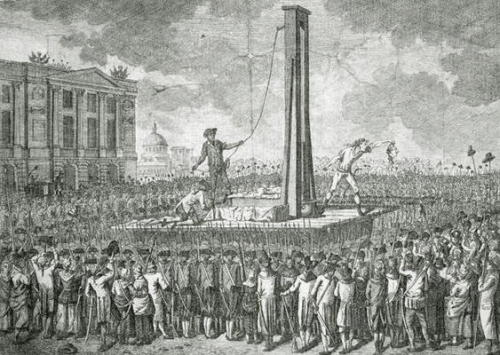 "The Execution of Louis XVI (1754-93), 21st January 1793 (engraving), Jakob-Joseph Clausner  @credits  ""arriving at the foot of the guillotine,  Louis XVI looked for a moment at the instruments of his execution and  asked Sanson why the drums had stopped beating. He came forward to  speak, but there were shouts to the executioners to get on with their  work. As he was strapped down, he exclaimed ""My people, I die innocent!""  Then, turning towards his executioners, Louis XVI declared ""Gentlemen, I  am innocent of everything of which I am accused. I hope that my blood  may cement the good fortune of the French."" The blade fell. It was  10:22 am. One of the assistants of Sanson showed the head of Louis XVI  to the people, whereupon a huge cry of ""Vive la Nation! Vive la  République!"" arose and an artillery salute rang out which reached the  ears of the imprisoned Royal family."" - Charles Henri Sanson."