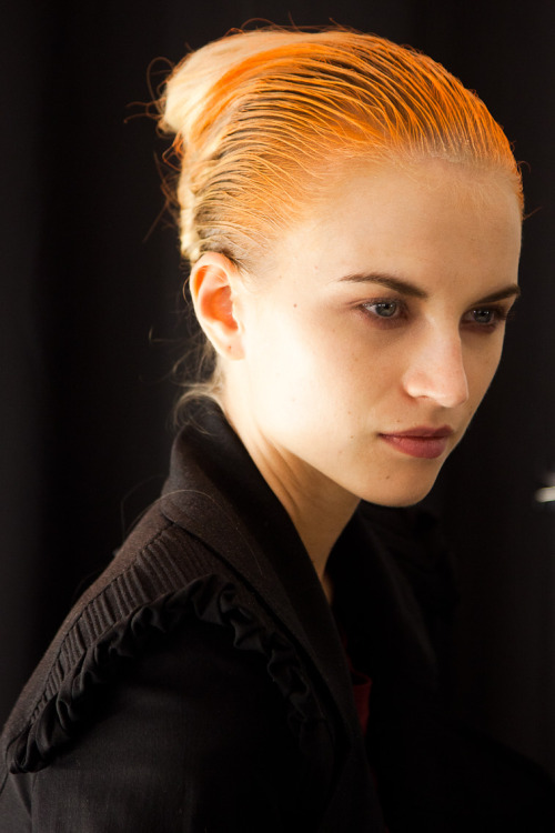 Anabela Belikova (IMG) backstage at Narciso Rodriguez NYFW SS12 I'm not 1000% percent sure if it is her. But see what she wore in the show here. It's so amazing how fashion, hair, and makeup can transform you.