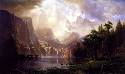 Among the Sierra Nevada Mountains, California by Albert Bierstadt, 1868Oil on canvas Overall: 72 x 120 1/8 in. (183 x 305 cm) frame: 96 1/4 x 144 3/8 x 7 1/4 in. (244.5 x 366.7 x 18.4 cm) Smithsonian American Art Museum A beautiful painting depicting the untouched American West in the mid-19th century. It almost looks too beautiful to exist, doesn't it? Well, you'd be right. After a little research, it was discovered that Bierstadt concocted this landscape from his mind. Still, it might be for the best. If any human came across this scene in real life, they might die from having their breath taken away.