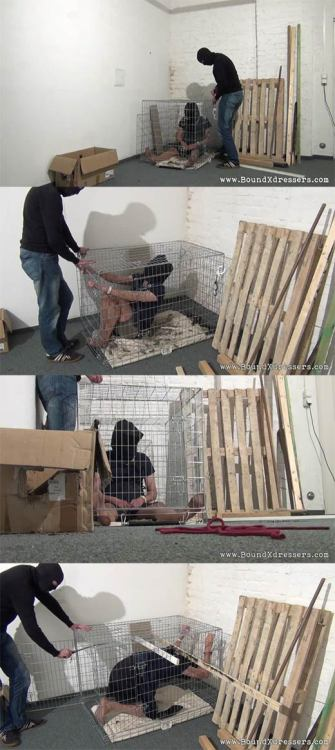Tranny trapped in a cage and KM likes to play with slave vera… :-) Found at www.boundxdressers.com