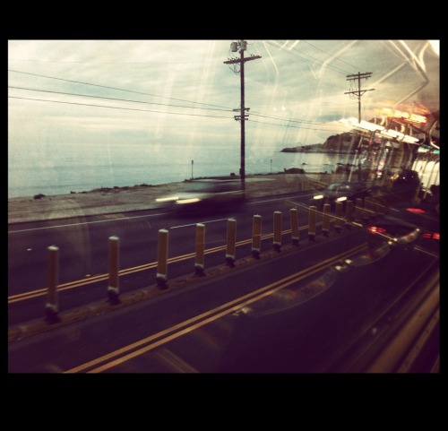 Photo I took of the PCH in Malibu, from the bus headed towards Pepperdine University.