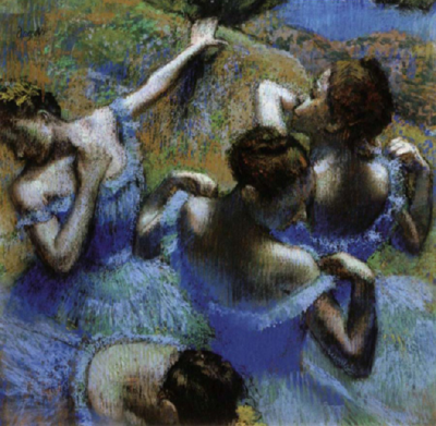 artemisdreaming:  Dancers in Blue, 1899 Edgar Degas . Below:  Dancer adjusting her shoulder strap, 1895, a photograph taken by Edgar Degas via: color-copies