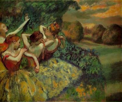 artemisdreaming:  Four Dancers, 1899, National Gallery of Art, Washington Edgar Degas Large image: HERE Detail