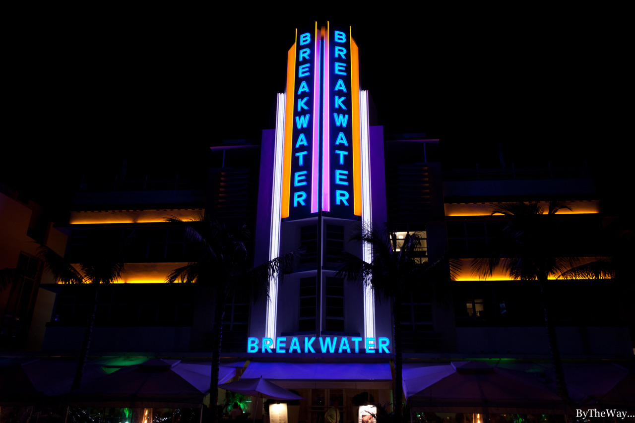 Neons of the Breakwater Hotel, Ocean Drive, South Beach - Miami, Florida