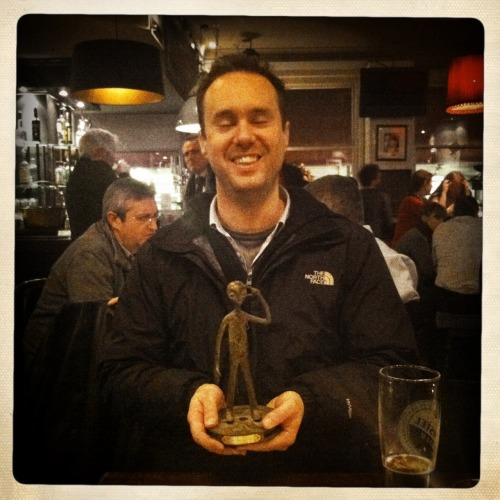 AWARD WINNING ANIMATOR JAMES MERRY PICKS UP AWARD: Finally, almost a year after I picked up the award in Reims, I was able to give James Merry his best VFX award for Hands Solo. I've been very lucky to work with James on my last few short films. He's a very talented animator with lots of credits on programmes such as Monkey Dust and Fonejacker - and I look forward to working with him again in future. I won't waffle on here apart from to say 'Thanks James!' and please do have a look at his work on http://www.jamesmerry.co.uk