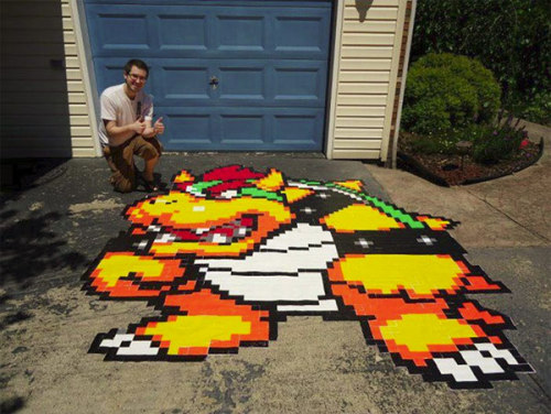 Geekcraft of the day: Driveway bowser made from multi-colored duct tape Via