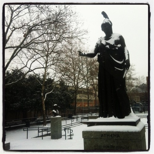 First snow (Taken with Instagram at Statue Of Athena)