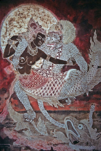 "lakeoftranquilitylane:   ""Balinese painting of Hanuman courting Ravana's mermaid daughter"""
