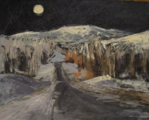 "Night Road with Moon / 9"" x 12"" / acrylic on panel board © Holly Friesen"