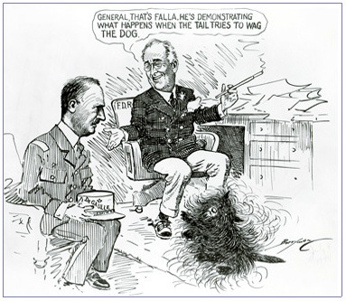 Wag The Dog A 1944 Word War II cartoon shows President Franklin D. Roosevelt explaining the gyrations of Scottish terrier Fala to Gen. Charles de Gaulle. FDR considered De Gaulle's claim as the leader of France, at a time when the majority of its land was under German control, to be overstated and akin to the tail wagging the dog. — The Washington Post via the White House Historical Association
