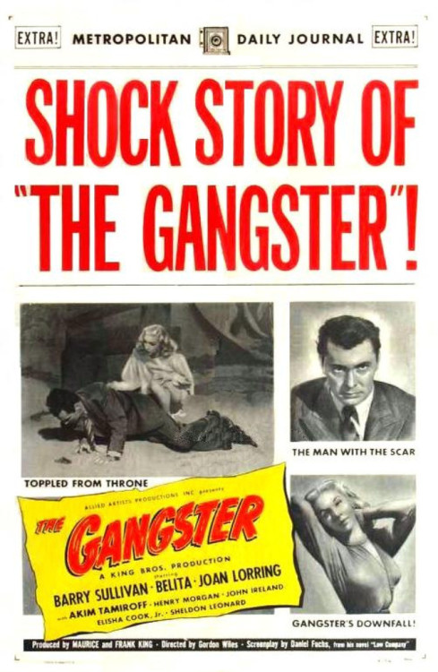 "The Gangster directed by Gordon Wiles 1947 Really enjoyed this arty B movie film noir. Film noir of the week said; In 1989 Daniel Fuchs wrote ""In all my time at the studios, I managed to get my name on a little more than a dozen pictures, most unmemorable, one (Love Me or Leave Me) a major success."" Since then some of the ""unmemorable"" pictures have grown in stature: The Hard Way, Panic in the Streets, Storm Warning (all with co-writers) and his solo screenplays The Scar and, especially, the noir masterpiece Criss Cross. When he wasn't writing screenplays he wrote short stories, another novel, and memoirs of his Hollywood days.Fuchs published three novels in the late 1930s, all set in Brooklyn. The Gangster(1947) is Fuchs' adaptation of the third of these novels, Low Company (1937). Fuchs boils down the sprawling opus to an 84-minute screenplay. The film and novel are set in Neptune Beach, a thinly disguised Brighton Beach/Coney Island in Brooklyn. The story centers on Shubunka, the gangster of the title. Over six years he has built up a business of ""rotten little rackets, living off people, … the numbers, floating gambling games, one or two other things even worse."" (In the novel, the business is prostitution.) His partner, Jammey, rents properties he owns to Shubunka. He also owns a soda/ice cream shop, the center for most of the film's activities. Major characters who work or hang out at the shop are Shorty, a soda jerker, Dorothy, the store's young cashier, and Karty, an accountant who now has a destructive gambling habit. All figure in the story's unfolding. Read the rest here http://www.noiroftheweek.com/2010/10/gangster-1947.html"